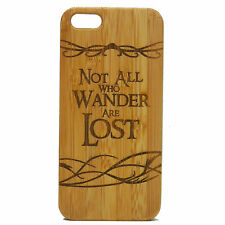 Not All Who Wander Are Lost Case for iPhone 5 5S SE Bamboo Wood Cover Book Quote