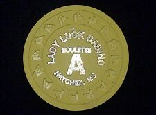 """ROULETTE CASINO CHIP """"A"""" -- LADY LUCK CASINO -- NATCHEZ, MS -- """"COLLECTABLE"""""""