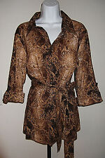 Lane Bryant Snake Print Tunic Top 14/16 Belt Button Front Rolled Sleeves Cotton