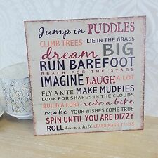 Wall Hanging Plaque Dream Big Metal Shabby Chic Vintage Style Jump in Puddles