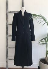 Cue Black Wool-Blend Calf-Length Winter Coat with Pockets - Size 12
