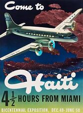 Come to Haiti miles from Miami Caribbean Vintage Travel Advertisement Poster