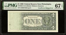 SUPERB GEM 1999 $1 DOLLAR INSUFFICIENT INKING ERROR NOTE PAPER MONEY PMG 67 EPQ
