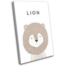 Cute Lion Animal For Kids Room SINGLE DOEK WALL ART foto afdrukken