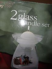 Christmas Holiday 2 Pieceglass Candle Set New In Box