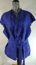 Ashley Stewart plus size 18W Blouse royal blue Linen Blend button front cap slv