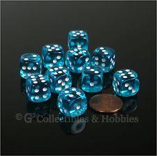 NEW 10 Transparent Teal Blue 12mm D6 Dice Set D&D RPG Game MTG Magic WARHAMMER