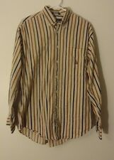 Nautica Tan Medium Cotton Shirt brown Sailboat Button Down Striped