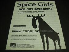 SPICE GIRLS are not Swedish! clever 1997 Promo Poster Ad w/ Moose in silhouette