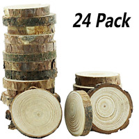 24 Pc unfinished Natural Thick Wood Slices Circle W/ Tree Bark Log for DIY Craft