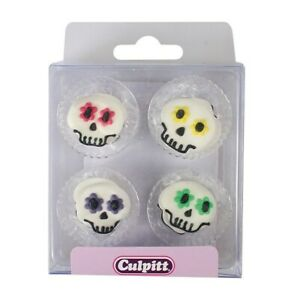 Halloween - Party Skull Sugar Pipings - 12 Piece - Edible Cake Decorations