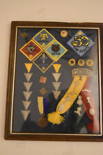 Framed Lot of Boy Scout Patches/Pins, 18 patches, 8 pins-medals - 1 dated 1980