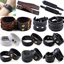 Men Women Wide Leather Handmade Braided Wristband Bracelet Bangle Hand Band Lot