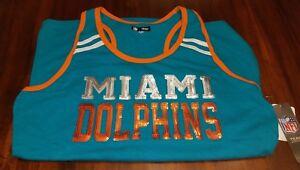 SEXY Womans NWT Official MIAMI DOLPHINS NFL Team Apparel Tank Top Medium Tua T.