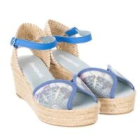 Desigual Block Blue Womens Floral Pumps Wedge Platforms Heels Shoes New 41SS232