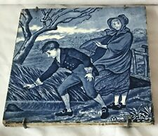 Victorian Josiah Wedgwood Etrupia Blue & White Calendar Ceramic Tile - March