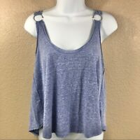 New $38 Free People Women's Carly Metal Ring Scoop Back Tank Top Blue Small NWT