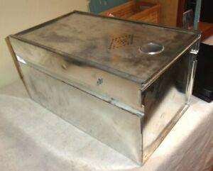 Antique Vintage Cabinet or Hoosier Style Metal Drawer Bread Box Tin Punch Door