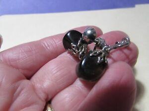 """VINTAGE 1"""" smoky gray rock/stone dangle clip screw back earrings"""