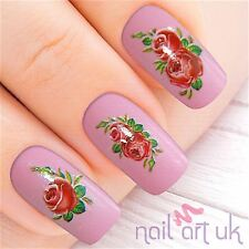 Red Flower Nail Stickers, Water Decals, Tatoos, Transfers 01.03.046