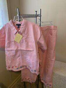 Denim & Co. Women's 2 piece Pink Capris & Blouse Set Size 3X