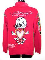 ED HARDY CHRISTIAN AUDIGIER JACKET Pink Heart Skull Bones Women's White Love NEW