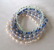 Genuine FW Pearl & Faceted Crystal Stretch Bracelets~~5 Variations~~Close-out!