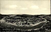 Traben Trarbach Mosel Postkarte ~1950/60 Blick auf die Moselschleife Brücke Fluß