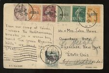 ALGERIA 1925 FRANCE SURCHARGES 7 COLOUR FRANKING PPC to USA
