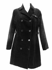 MAX MARA Womens Black Corduroy Double Breasted Long Trench Coat Jacket 34 4 36 6