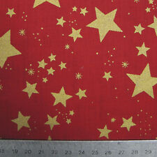 Christmas Fabric Red with Gold Stars - 1 Metre