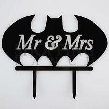 Wedding Cake Topper Mr & Mrs Batman Black Acrylic Decoration