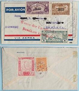 PARAGUAY to GERMANY 1935 ZEPPELIN, 3rd Shuttle Flight/Revolt Delay Cachet Cover,