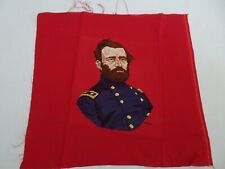 Vintage Completed Counted Cross Stitch Sampler Ulysses S Grant on Red