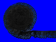 Black~DOUBLE Ruffle 2 Inch Candlewick Lace Trim~By 5 Yards