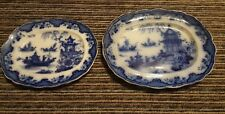 Two Very Rare Thomas Godwin Blue & White -Flow Blue Macao Platters - circa 1840