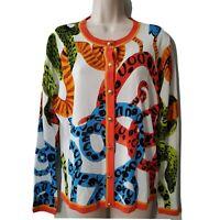 Escada Womens Cardigan Sweater Mutli Color Gold Buttons Vintage cotton blend M