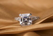 Cut White Cubic Zirconia, Fine Jewelry Silver Engagement Ring 3.44 Ct Princess