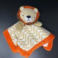 Levtex Lion Baby Lovey Tan Chevron Geo Squares Orange Trim Security Blanket