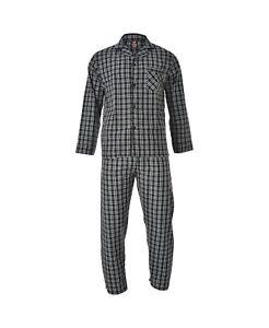 Hanes Men's Sleepwear Woven Pajama Set, Long Sleeve, Black Plaid, Small, NEW!