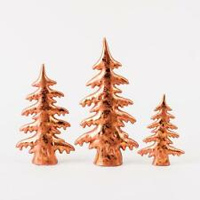 "180 Degrees Porcelain Copper Alpine Christmas 6""-11"" Village Trees, Set of 3 New"