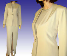 $2700 PAMELA DENNIS 3-Pc Sueded & Chiffon SILK Formal Suit 10 UNWORN Vntg IVORY
