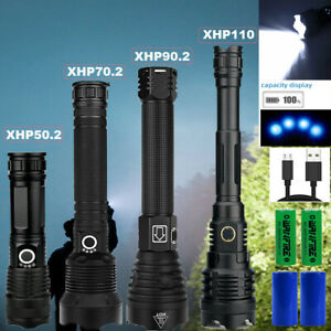 Super Bright XHP110 xhp90.2 powerful led flashlight usb rechargeable Zoom Torch