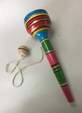 TRADITIONAL HAND PAINTED WOOD BALERO CUP , BRIGHT COLORS , MEXICAN TOY ,ORIGINAL