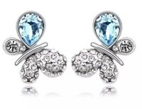 18k White Gold Gp Butterfly Earrings Studs Features Swarovski Crystals Jewellery