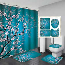 Cherry Blossoms Door Bath Mat Toilet Cover Rugs Shower Curtain Bathroom Decor