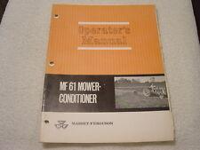 MASSEY HARRIS FERGUSON MF 61 MOWER CONDITIONER OPERATOR MANUAL