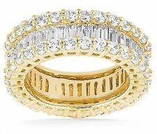 4.60 carat Round & Baguette Diamond Eternity Ring Yellow Gold Band Size 8 F-G Vs