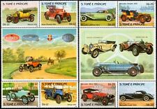 1983 St Thomas & Prince Car Stamp Label Set (Mercedes-Benz/Rover/Morris/Renault)