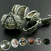 Expanding 5 Photo Lockets Necklace Silver Ball Angel Wing Pendant Memorial Gift